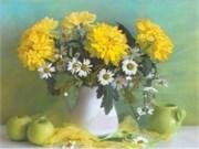 Набор для вышивания ленты  Желтые хризантемы