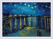 Набор алмазной мозаики  Звездная ночь над Роной  по мотивам картины Ван Гога