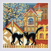 Набор алмазной мозаики  Город и кошки. Осень