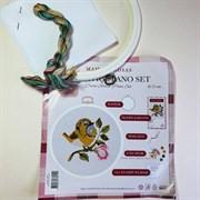 Набор для вышивания с пяльцами Птица с розой, 22 см