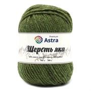 Пряжа Astra Premium Шерсть яка 25% шерсть яка, 50% шерсть, 25% фибра зеленый мох
