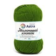 Пряжа Astra Premium Молочный хлопок 50% хлопок, 50% молочный акрил зеленый